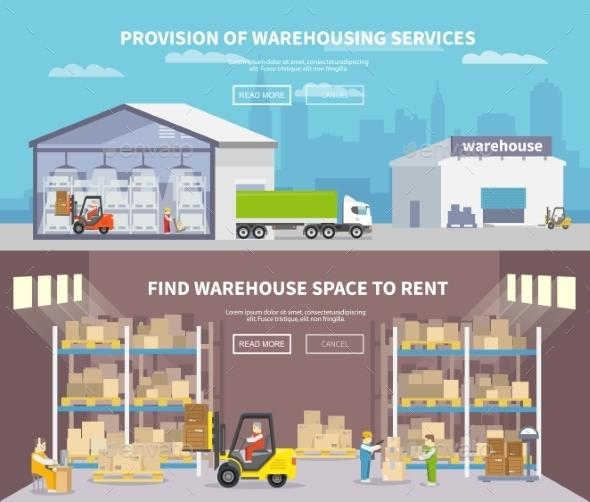 Warehouse Flat Banner Set - Industries Business