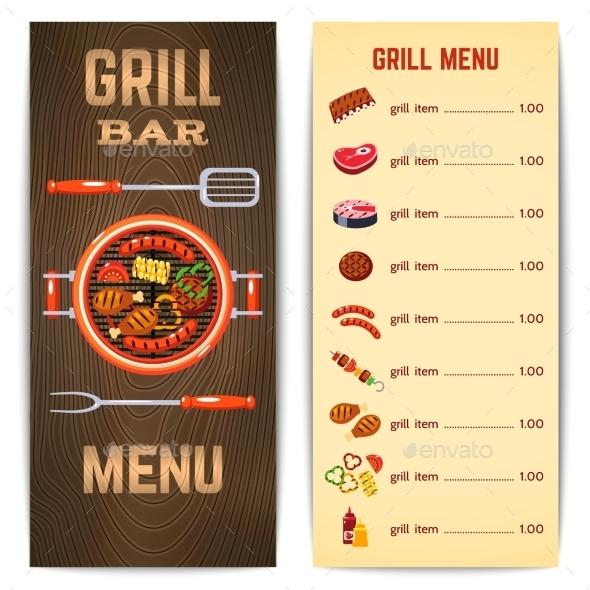 Grill Menu Illustration - Food Objects