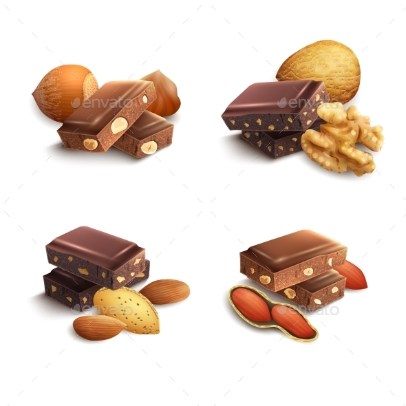 Chocolate With Nuts - Food Objects