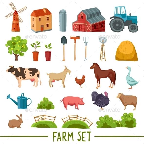 Farm Multicolored Icon Set - Objects Vectors