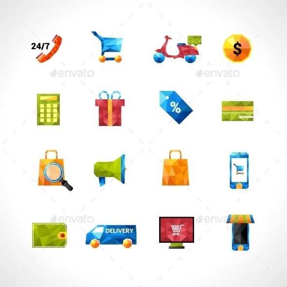 E-commerce Polygonal Icons - Business Icons