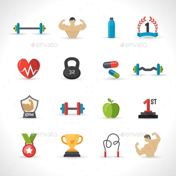 Bodybuilding Icons Set - Sports/Activity Conceptual