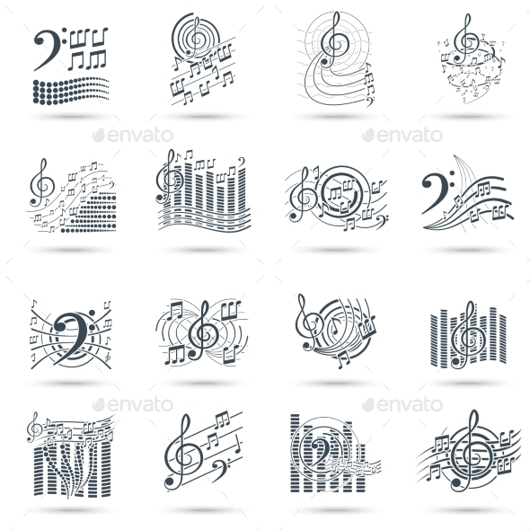 Music Notes Black Icons Set - Abstract Icons