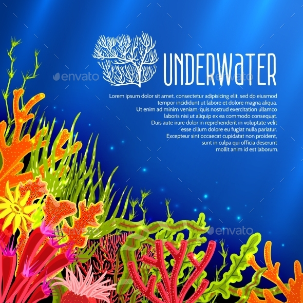 Underwater Corals Poster - Backgrounds Decorative
