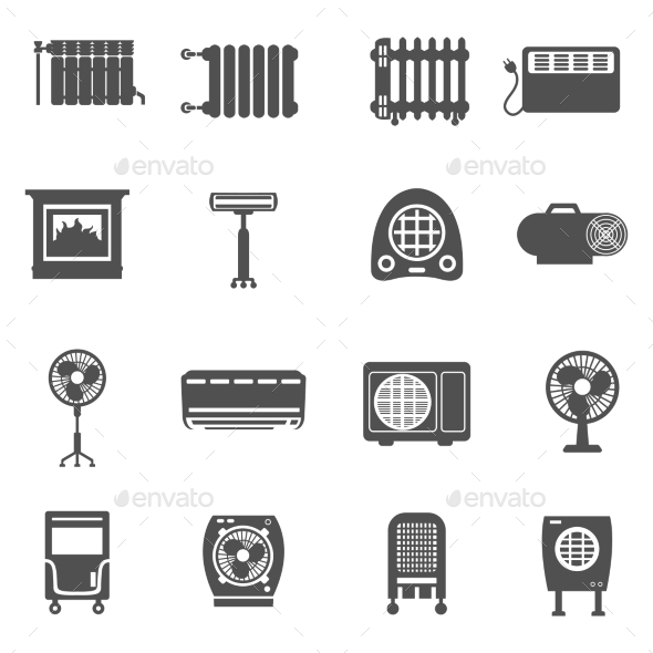 Heating and Cooling Icon Set - Man-made Objects Objects