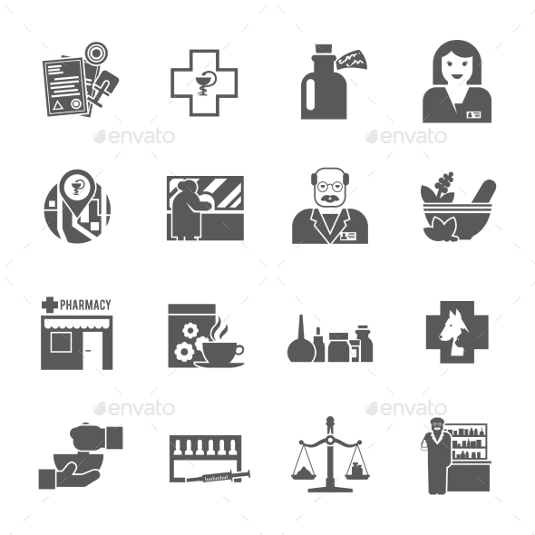 Pharmacicst Black Icons Set - Miscellaneous Icons