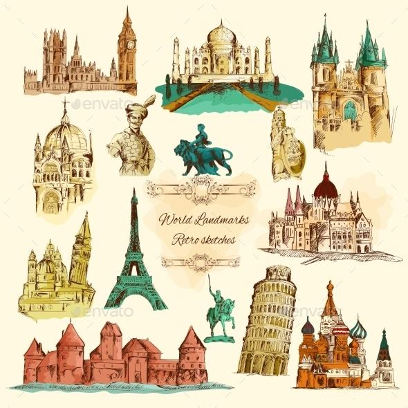 World Landmarks Sketch Vintage Icons Set - Miscellaneous Vectors