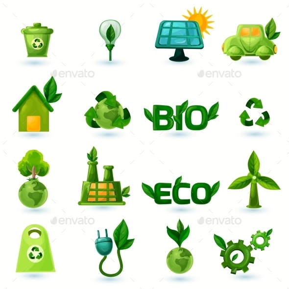 Green Ecology Icons Set - Objects Icons
