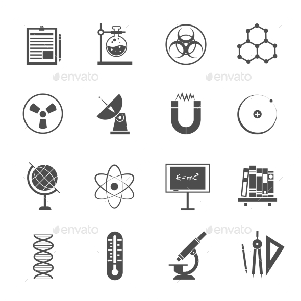 Science Icons Set Black - Objects Icons