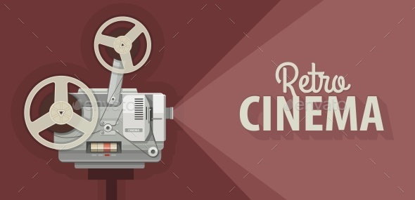 Retro Movie Projector for Old Films Show - Man-made Objects Objects