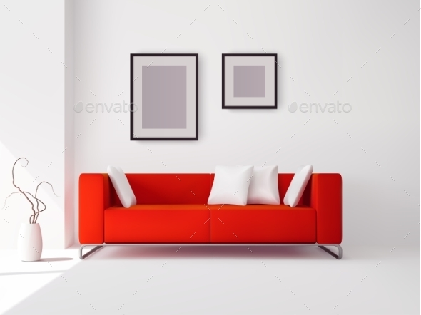 Red Sofa with Pillows and Frames - Man-made Objects Objects