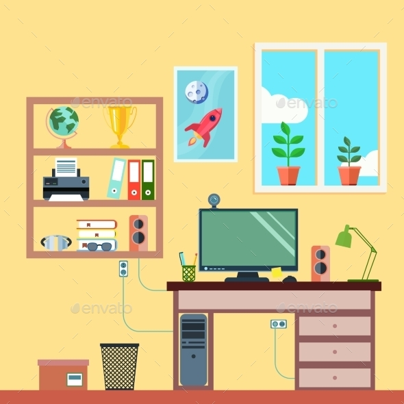 Workspace in Room - Miscellaneous Vectors