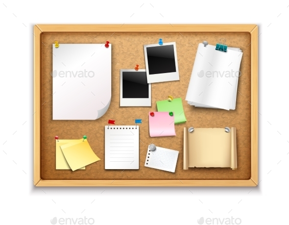 Cork Board with Papers - Man-made Objects Objects