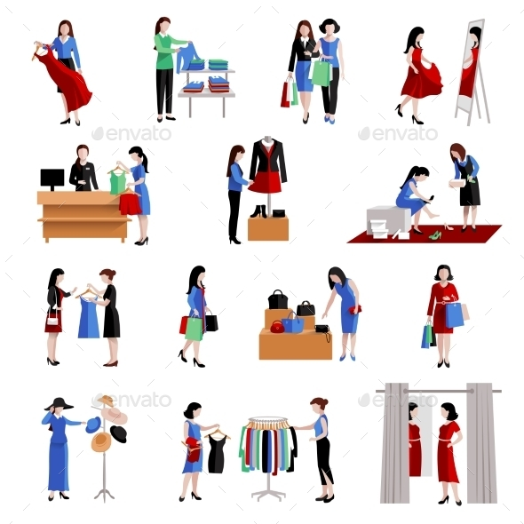 Woman Shopping Icons - Retail Commercial / Shopping
