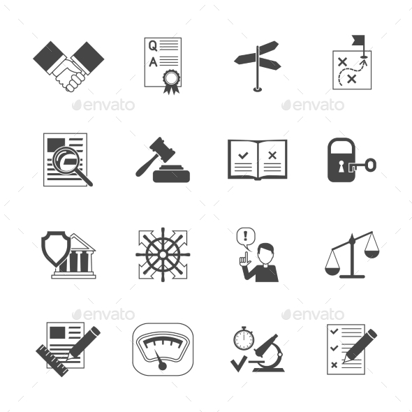 Legal Compliance Icons Set - Miscellaneous Vectors