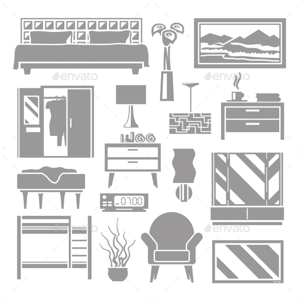 Bedroom Furniture Grey Set - Man-made Objects Objects