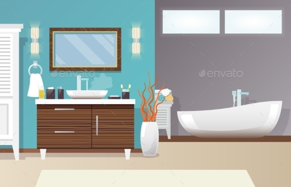 Modern Bathroom Interior - Backgrounds Decorative