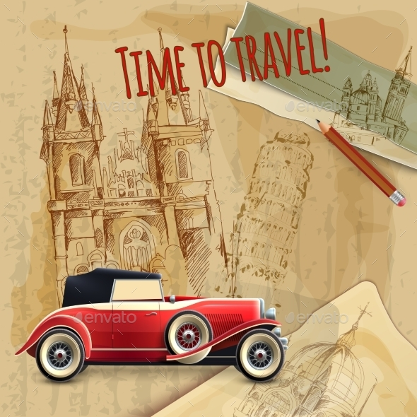 Europe Travel Car Vintage Poster - Travel Conceptual