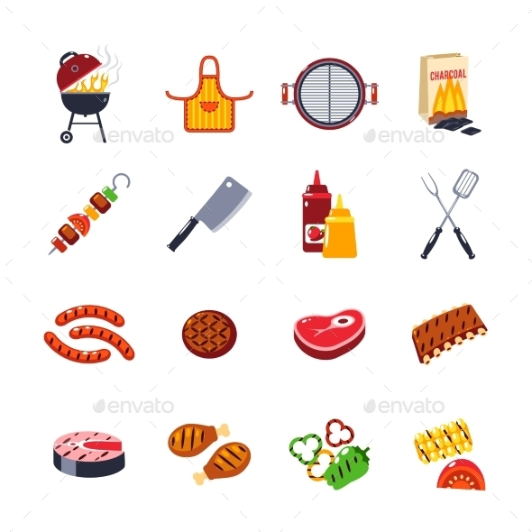 Barbecue And Grill Icon Set - Food Objects