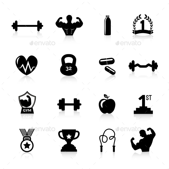 Bodybuilding Icons Black - Miscellaneous Icons