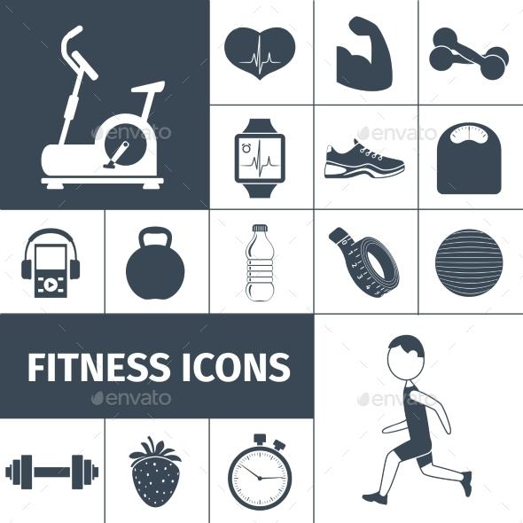 Fitness Icons Black Set  - Miscellaneous Icons