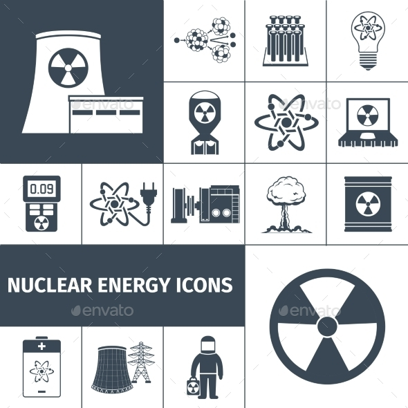 Nuclear Energy Icons Set Black - Technology Icons