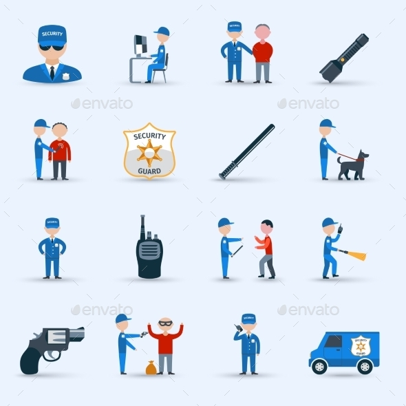 Security Guard Service Icons Set - Miscellaneous Characters