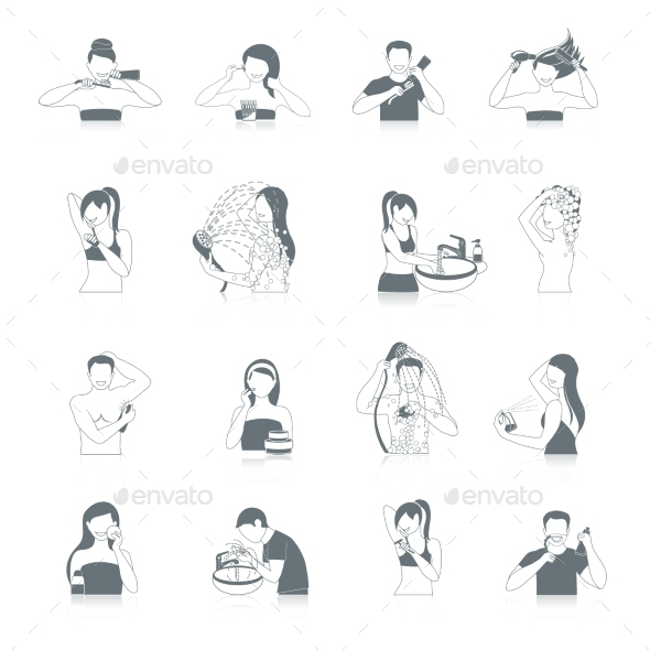 Hygiene Icons Set - People Characters