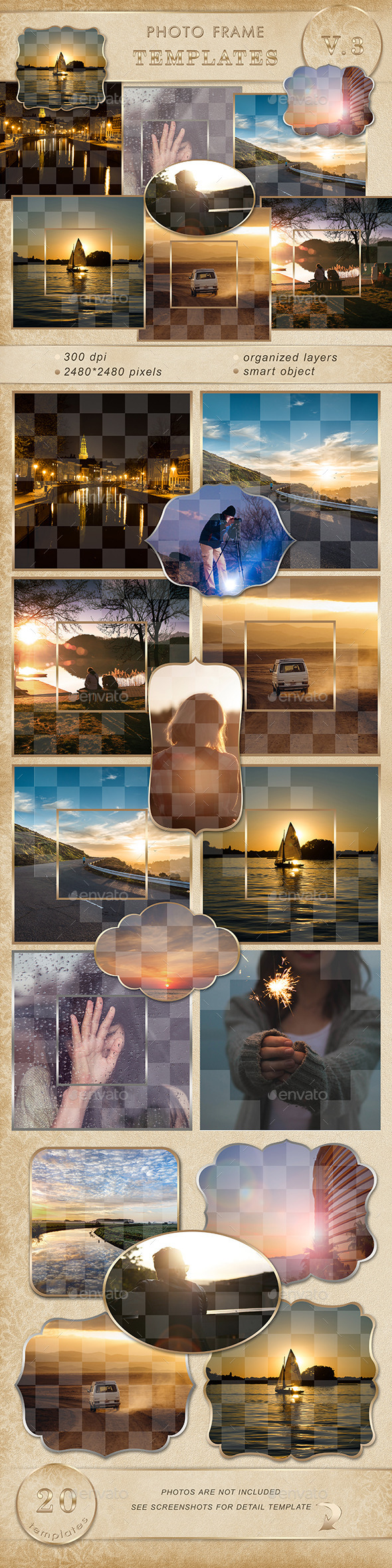 Photo frame templates.V3 - Artistic Photo Templates