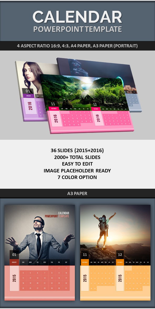 Powerpoint Calendar Template 2015-2016 By Pptx | Graphicriver
