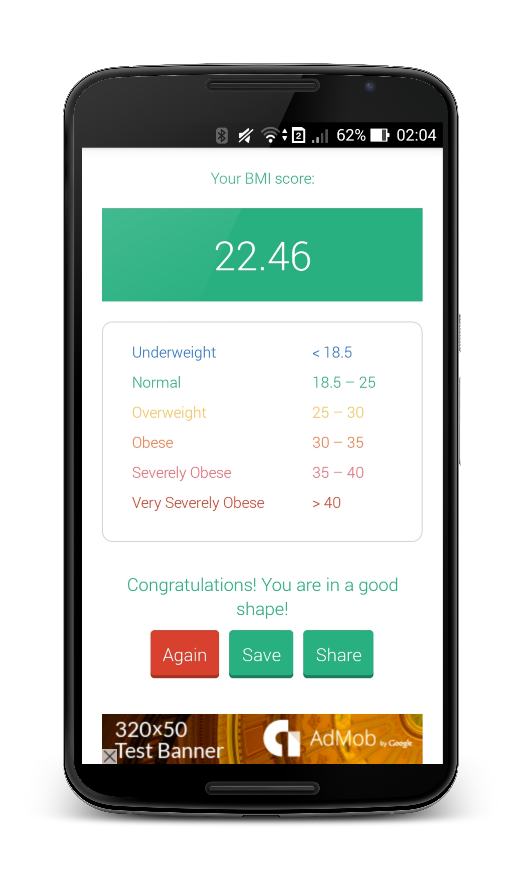 BMI/BFP Calculator with Admob & Flat UI by benten_studio | CodeCanyon