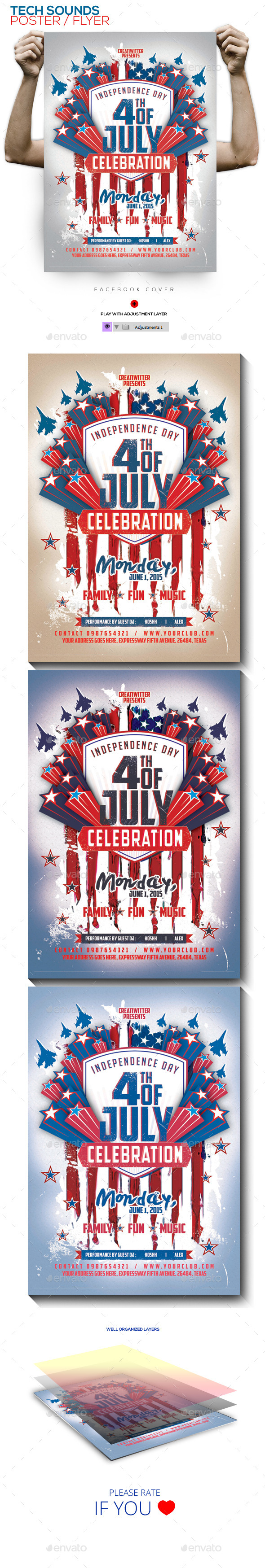 4th of July PSD Poster/Flyer Template - Events Flyers