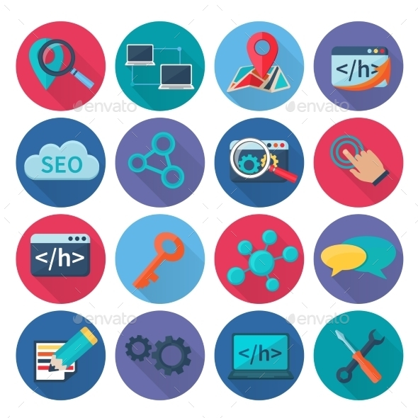 Seo Marketing Icons Flat - Technology Icons