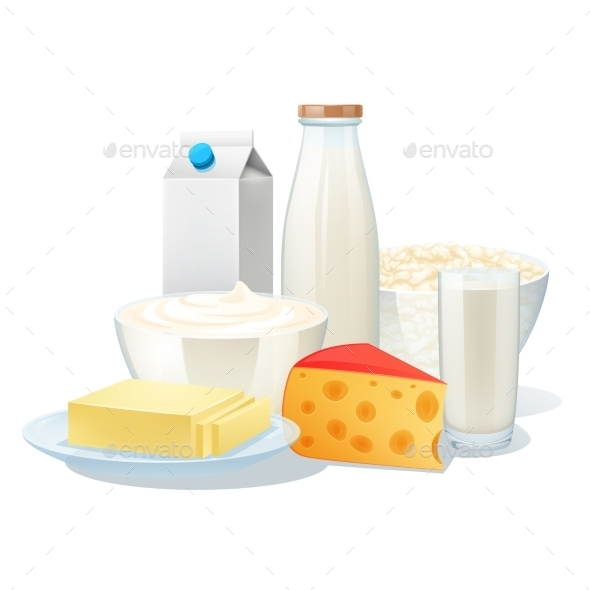 Milk Products Set - Food Objects