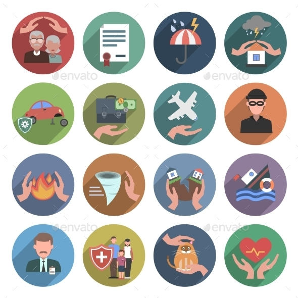 Insurance Icons Flat Set - Miscellaneous Icons