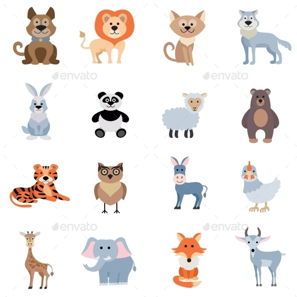 Wild And Home Animals Set - Animals Characters