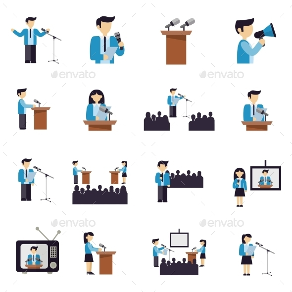 Public Speaking Icons Flat - People Characters
