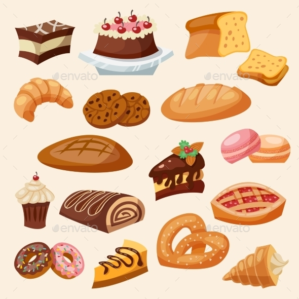 Flat Icon Pastry Set - Food Objects