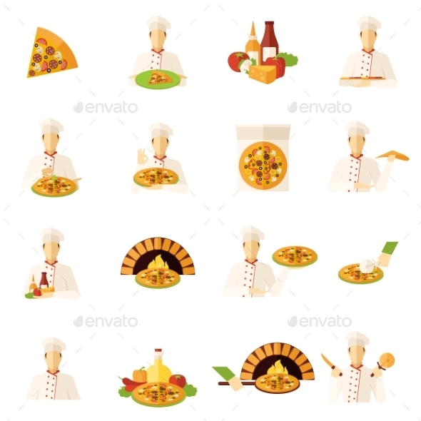 Pizza Makers Flat Icons Set - Food Objects