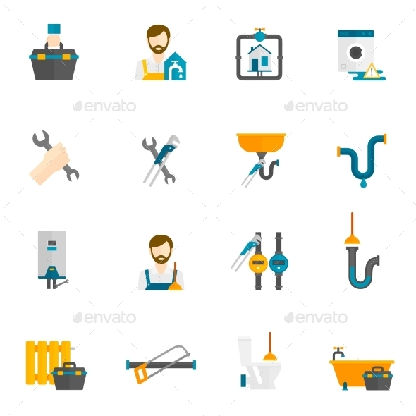 Plumber Flat Icons Set - Miscellaneous Icons