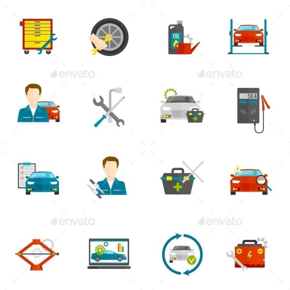Auto Mechanic Flat Icons Set - Technology Icons
