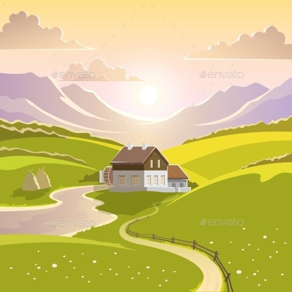 Mountain Landscape Illustration - Landscapes Nature