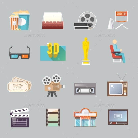 Cinema Retro Flat Icons Set - Miscellaneous Icons