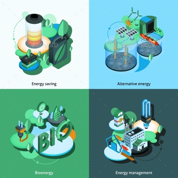 Green Energy Isometric - Miscellaneous Conceptual