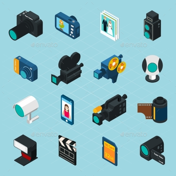 Isometric Photo and Video Icons - Media Technology