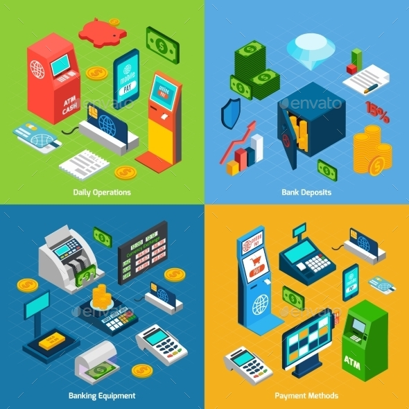 Isometric Banking Set - Concepts Business