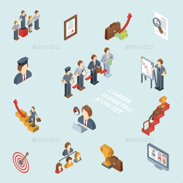Career Isometric Set - Concepts Business