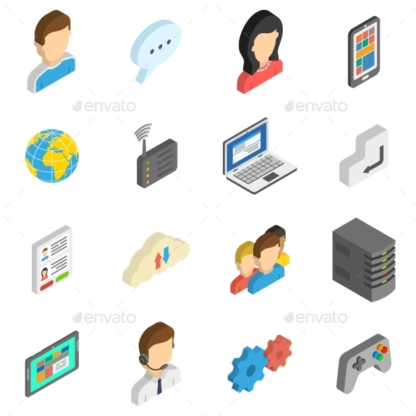 Internet Isometric Icon Set - Computers Technology