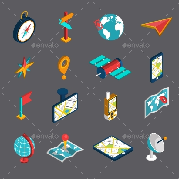 Navigation Isometric Icon Set - Miscellaneous Icons