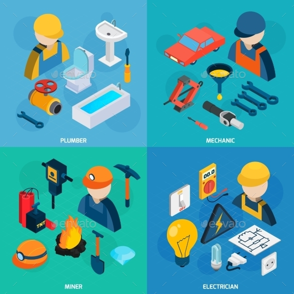 Technic Professions Isometric Icon Set - Services Commercial / Shopping